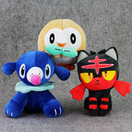 "Wholesale Wholesalers For Baby Stuff - Poke Doll Pikachu Plush Popplio Rowlet Litten Stuffed Animals Toy For Baby Gifts (3pcs Lot   Size: 7""-8"" )"