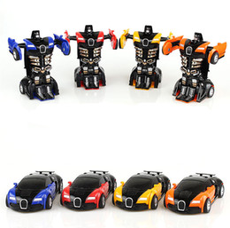 Wholesale Pull Back Cars - 2017 hot sale Step-by-step deformation of the toy King Kong 5 Bugatti a key turned male and female pocket puzzle PK model.