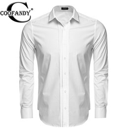 Wholesale Work Shirts Xxl - Wholesale- COOFANDY Men Formal Shirt Office Work Business Long Sleeve Front Pleated Button Black, White Dress Shirt US Size S M L XL XXL