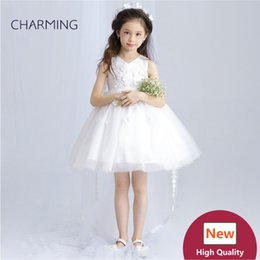 Wholesale Hi Low Wedding Dress Designer - Flower girl dresses High low dresses Girls pageant dress High quality designer dresses real photo China wedding dress