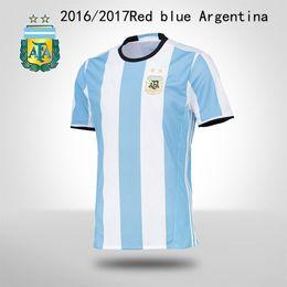Wholesale Shirt Football Argentina - The 2016 Argentina Men's Football Shirt Mens 2016 Short Sleeved Red And Blue Meixidi Maria Aguero Argentina Home Court Football Jersey Shipp