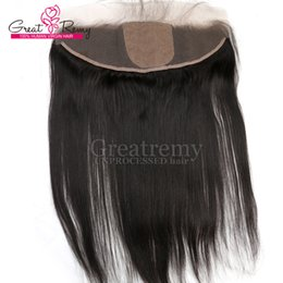 Wholesale Real Hair Hairpieces - Ear to Ear Lace Frontal Closure with Silk Base Hairpieces Brazilian Human Hair Straight Greatremy Factory Christmas Sale Almost Real Skin