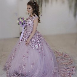 Wholesale Lilac Floral Wedding Dresses - Lilac Tulle Cap Sleeves Wedding Dresses With Floral 3D Flowers Applique Bridal Dress with Color Ball Gowns Wedding Gowns trajes de novia