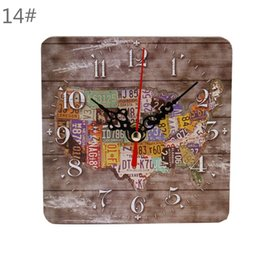 Wholesale Small Square Clock - Square Creative Wall Clock Artistic Silent Rustic Clock Cafe Bar Home Office Small Wooden Wall Clock Vintage Decoration 2PCS lot