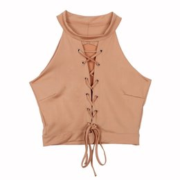 Wholesale Hot Sexy Ladies Wholesale Clothing - Wholesale- Lace Up Tie Front Stretch Crop Tops Sexy Women Bandage Shirt Seeveless Halter Ladies Shirts Clothes Hot