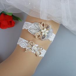 Wholesale Vintage Wedding Garter Sets - 2pcs Country Rustic Burlap Lace Wedding Bridal Garter Set Handmade Flower Rhinestones Vintage Lace Wedding Bridal Leg Garters Free Shipping