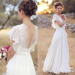 Wholesale Long Western Wedding Dresses - Vintage Modest Chiffon Boho Wedding Dresses With Cap Sleeves Lace Appliques Country Western Beach Bridal Wedding Gowns Formal Dress 2017