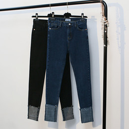 Wholesale Curling Vintage - 2017 New Spring Women's Sasual Simplicity Curling Jeans Slim Pencil Pants