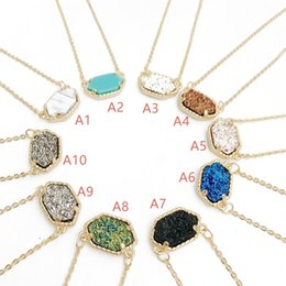 Wholesale geometry pendant charm - Fashion Drusy Druzy Necklaces Earrings 10 colors Gold Silver Plated Kendra Resin Geometry Stone Necklace Earrings Jewelry For women