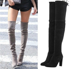 Wholesale High Heel Wine - Wholesale-Woman Stretch Suede Slim Thigh High Heel Boots Sexy Over the Knee Boots for Women Overknee Shoes Ladies 2016 Black Grey Wine Red