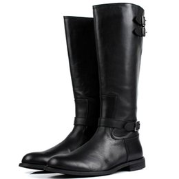 Wholesale Snow Boots Men Zipper - Fashion Buckle Back Zipper Mens Knee-high Boots Fashion Black Genuine Leather Motorcycle Boots Work Office Shoes Winter Boots Men