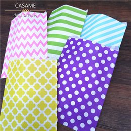 """Wholesale Chevron Paper Favor Candy Bags - Wholesale- 25pcs lot 6.2"""" x 9"""" Pink chevron Flower Craft Paper Popcorn Bags Party Treat Favor Paper Bag Paper Bag for Gifts and Candy"""