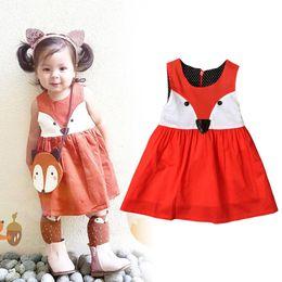Uma peça vestidos para crianças on-line-Ins Meninas Macacões Vestidos Raposa Dos Desenhos Animados Sem Mangas Do Bebê Crianças One-piece Vestuário Meninas Vestir Deslizamento Saias de Verão