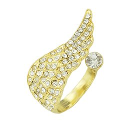 Wholesale Gold Rhinestone Wings Ring - Fashion Delicate Gold Plated with Rhinestone Cute Wings Rings for Women