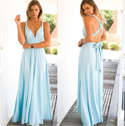 Wholesale Bridesmaid Night - 30pcs 2017 Summer Sexy Boho Floor Dress for Women Multiway Bridesmaids Convertible Backless Dress with Halter Bandage Party Dresses ZL3055