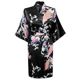 Wholesale Kimono Peacock - Wholesale- Black Fashion Women's Peacock Kimono Bath Robe Nightgown Gown Yukata Bathrobe Sleepwear With Belt S M L XL XXL XXXL KQ-1