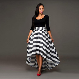 Wholesale Women S White Skirt Suits - Tinderala Women Black and White Dresses Ankle Length Dress Two-piece Suit Solid Color Long-Sleeved O Neck T-shirt And Striped Skirt