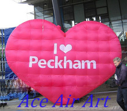 Wholesale Inflatable Huge - huge Valentine's Pink inflatable heart shaped wall for decoration