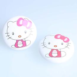 Perillas de los niños online-50mm blanco rosa gato perillas de cerámica gatito de porcelana zapato gabinete perillas de dibujos animados niños habitación muebles niños perillas