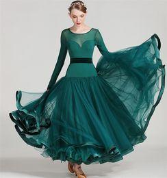 Wholesale Tango Ballroom Dance Dress - 5Color Green Blue Adult Girl Ballroom Dance Dress Modern Waltz Tango Standard Competition Dance Dress Mesh Stitcing Long Sleeve Dress