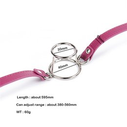 Wholesale Women Bdsm Leather - Open Mouth Gag Double Round Bdsm Bondage Slave PU Leather O Ring Gags Stopper Adult Restraint Games Sex Toys For Woman