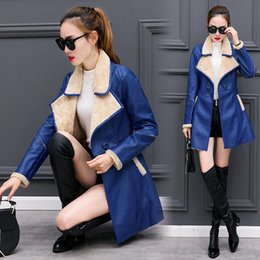 Wholesale Women Overcoat Price - CAF254- BOTTOM PRICE 4 Color 2017 Elegant Autumn Winter Women Fur Collar and Inside Long Leather Coat Jacket Lady Long Overcoat