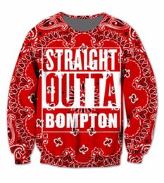 Wholesale Sublimation Sleeve - Wholesale-Real USA Size 3D Sublimation print Crewneck Sweatshirts Red Bandana Straight Outta Bompton - Compton California streetwear