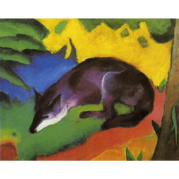 Wholesale Marc Painting - Abstract Landscapes painting by Franz Marc Blue Fox Canvas Reproduction modern art Handmade