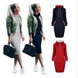 Wholesale Girls Long Sleeve Sweater Dress - Women High Collar Hoody Sweatshirt Long Sleeve Choker Sweater Hoodies Jumper Winter Dress 6 Colors 50pcs OOA3344