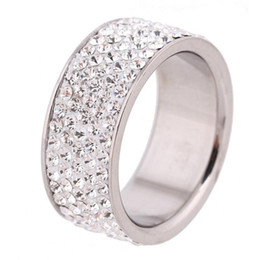 Wholesale Rowing Girl - Wholesale 5 Row Lines Clear Crystal Jewelry Fashion Stainless Steel Engagement Rings For Women Girls Free Shipping