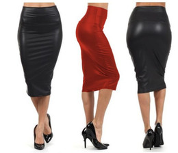 Wholesale Sexy Faux Leather Black Dresses - Women Sexy Black Red Women High Waisted Skirt Pencil Skirt Leather Skirt Plus Size Party Dress