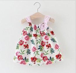Wholesale Lolita Hot - 2 color hot selling Korean style 2017 new arrival girl summer cute Striped shoulder strap little Flower printting sling Dress free shipping