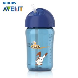Wholesale Avent Baby Cup - Wholesale-AVENT 330ml Toddler Infant Baby PP Cup Children Cute Learn Feeding Drinking Straw Bottle Sippy Copo Infantil Mamadeira Garrafa