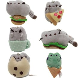 Wholesale Pizza Toys - 2017 New Cute fat cat, donuts, plush dolls, pusheen biscuits, cups, pizza, hamburgers, ice cream, cat dolls