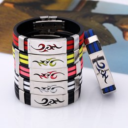 Wholesale Masculine Gifts - Titanium Steel Silicone Bracelets Fashion Personality Stainless Steel Bracelet Bangle For Men Multi Color Wristband Masculine Cool Jewelry