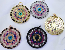 Wholesale Evil Eye Round Beads - Top Quality Eyes Micro Crystal Pave Diamond Pendant Jewelry Focal Triangle Round Disc Evil Jewelry beads 18-32mm