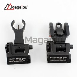 Wholesale Troy Battle Rear - Magaipu Whosale Tactical Metal Iron Troy Front And Rear Folding Battle Sight Set Airsoft Hunting Accessories