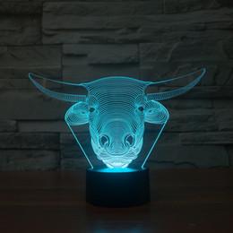Wholesale Bull Lamp - 2017 3D Bull Head Night Lamp 3D Optical Lamp AA Battery DC 5V Wholesale Dropshipping Free Shipping