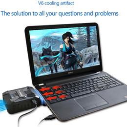 Wholesale External Air - Wholesale- Adjustable V6 External Exhaust Type Notebook Laptop Cooling Pad Radiator Cooling Fan USB laptop cooler