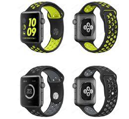 Canada Sport Silicone Straps Bandes Pour Apple Watch Série 1/2 Strap Band 38 / 42mm Montre 100% Bonne Qualité Double Couleur Strap 50 pcs / lot drop shipping Offre
