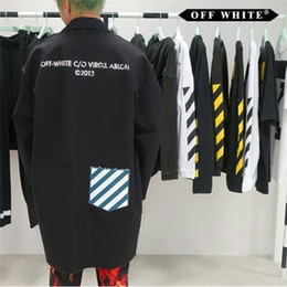 Wholesale Long White Trench Coats - OFF WHITE WORK COAT WHITE & BLACK 2017 OPTIONS Trench Hip Hop Kanye West Windbreaker Coats VIRGIL ABLOH Supremo Harajuku JACKETS