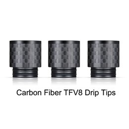 Wholesale Electronic Carbon - New Arrival Carbon Fiber TFV8 Drip Tips Flat wide bore 810 Drip Tip for TFV8 BIG BABY TFV12 Atomizers electronic cigarette
