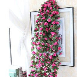 Wholesale Vine Lights - Promotion Artificial Rose Vines Silk Vine Fake Flower Plant Garlands Home Wedding Garden Decoration