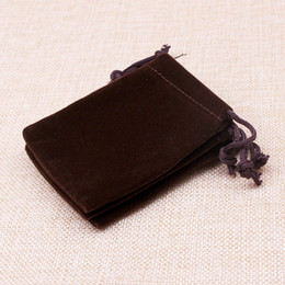 Wholesale Wedding Rings Velvet Bags - Hot Selling Wholesale 100pcs Brown 7*9cm drawstring velvet jewelry pouches for necklace earrings rings packaging display storage wedding