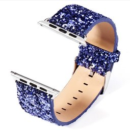 Wholesale Silver Glitter Band - Shiny Glitter Power PU Leather Bling Luxury Iwatch Band Wristwatch Bracelet Strap Belt for Apple Watch (38MM and 42mm)