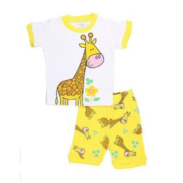 Wholesale Giraffe Pyjamas - Yellow Giraffe Cute Baby Girls Clothes Suits Cotton Summer Short Sleeve T-Shirts Shorts Pants Infant Pajamas 2pcs Sets 2-7Years Pyjamas Tops