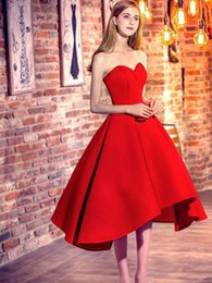 Wholesale crystal high low cocktail dress - Classic Princess Sweetheart Satin with Ruffles Asymmetrical Red High Low Prom Dresses 2018 Cocktail Dresses