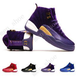 Wholesale Velvet Satin - 2017 Jump man Retro 12 XII Blue Black Velvet Men Basketball Shoes High Cut Wool Heiress Sneakers 12s Trainers Men Sports Shoes With Box