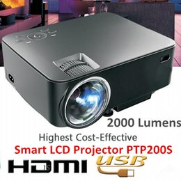 Wholesale Cheap Portable Wifi - Wholesale-Smart Cheap Portable LED WiFi 3D Projector PTP200S Which is Brighter Than UC46
