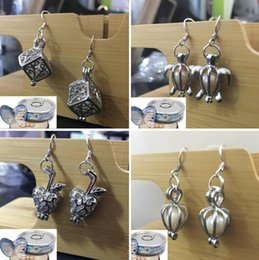 Wholesale Turtles Earrings - Love Wish Pearl Cages Locket Earrings Freshwater Pearls Oyster Pendant Earrings (Excluding Pearl Canned)Hollow Turtle Dangle Earrings